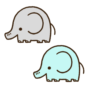 灰色と水色の象