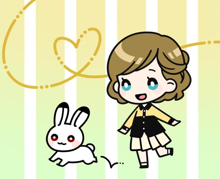 女の子とウサギのイラスト