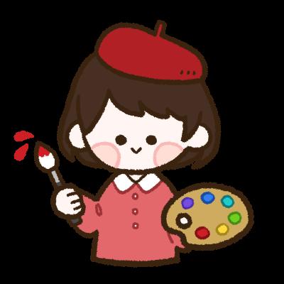 絵筆を持つ女の子