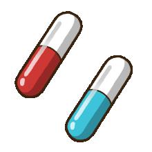 赤色と水色の錠剤