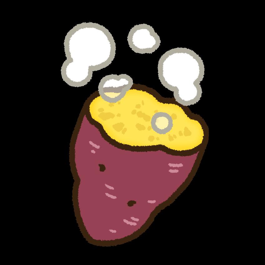 ほかほかと湯気の出ている蒸し芋のフリー素材   ふんわりいらすと 素材カフェ